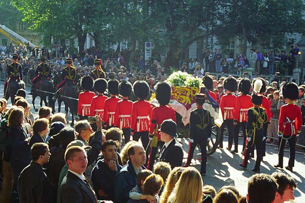 An image of Princess Diana's funeral procession in London