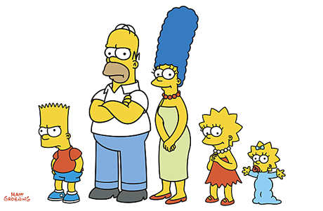 An image of the family of characters that make up The Simpsons