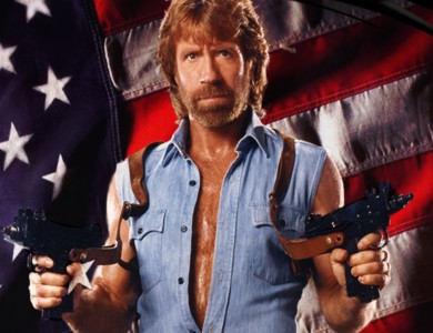An image of Chuck Norris standing in front of an American Flag with two izu guns in each hand