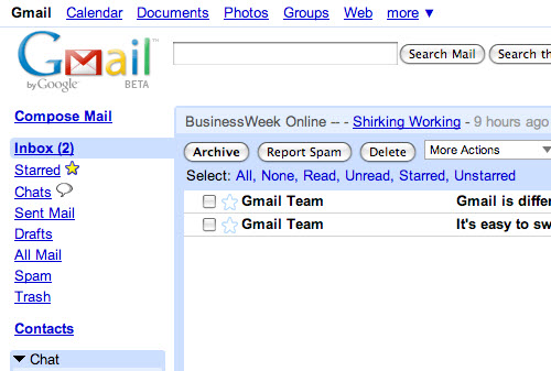An image of the Gmail inbox