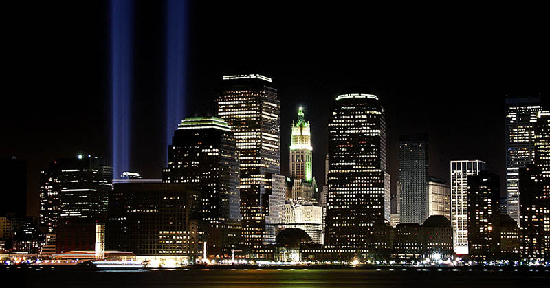 An image of the lights in New York city which represent the Twin Towers that were destroyed