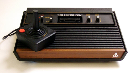 An image of the classic Atari 2600 console with joy stick