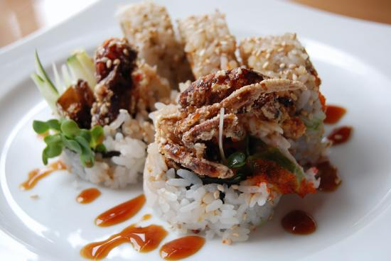 An image of soft shell crab sushi or commonly known as a spider roll