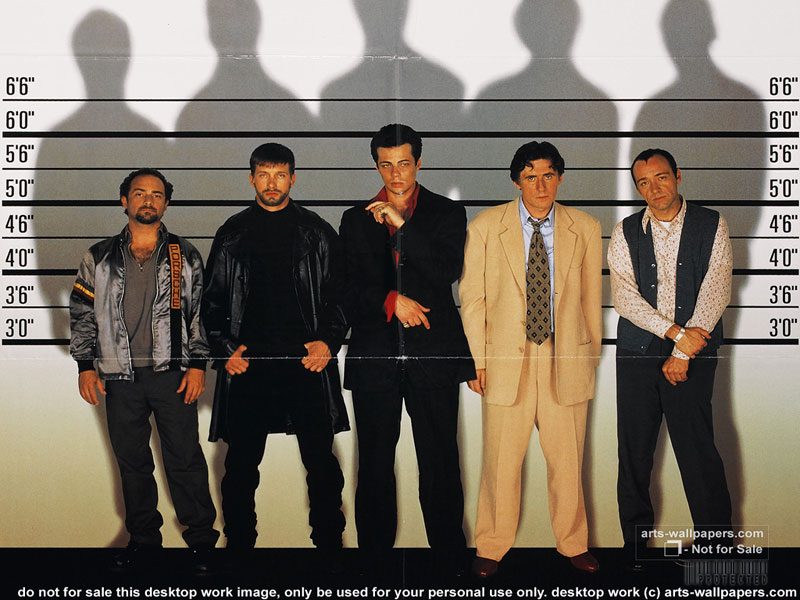 An image of the cast of The Usual Suspects in a police line up