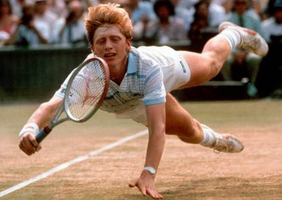 An Image of The Greatest Sporting Ginger Boris Becker diving to get a ball