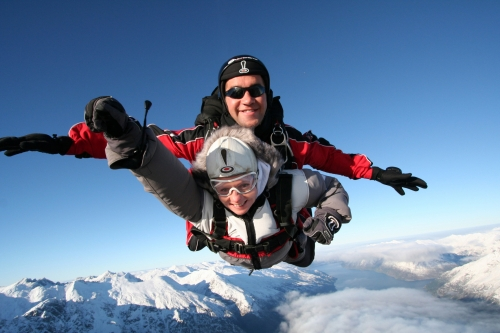 An Image of a Tandem Sky Dive in Queenstown