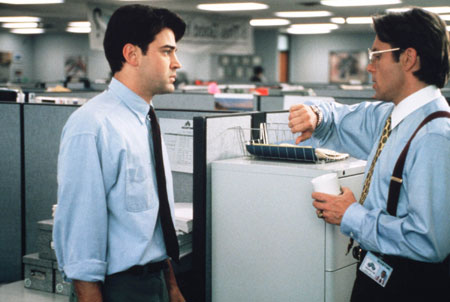An image of two actors in the movie Office Space