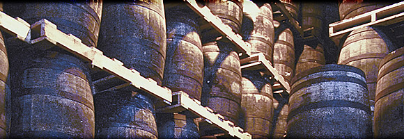 An image of single malt whiskey barrels aging.