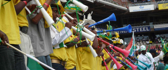 An image of the infamous Vuvuzela in full noise at a football stadium
