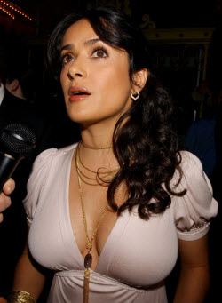 An image of Salma Hayek's amazing boobs