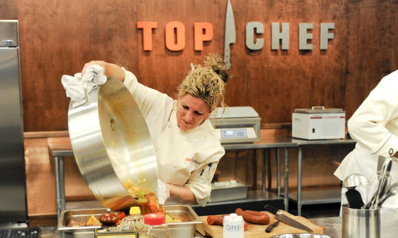 An image of a chef on the TV Series Top Chef cooking a tasty dish