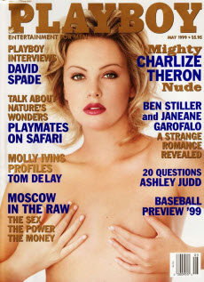 An image of Charlize Theron on the front cover of Playboy