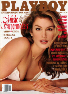 An image of Cindy Crawford on the front cover of Playboy