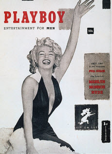 An image of the very first playboy front cover with Marylin Monroe