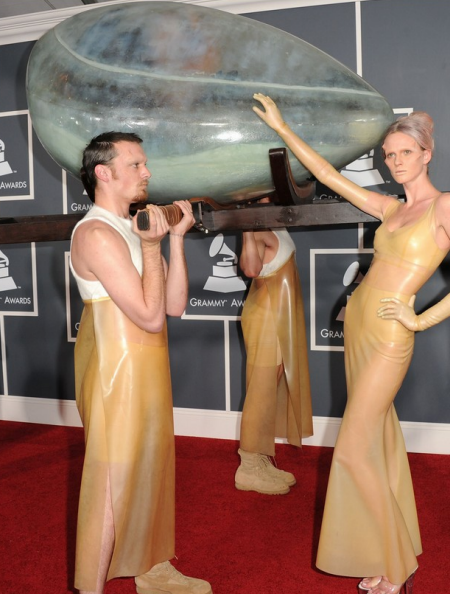 An image of Lady Gaga in a shell at the Grammy's