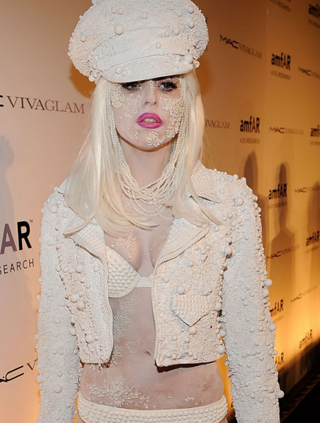 An image of Lady Gaga wearing pearls and a bikini at Fashion Week