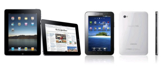 An image of the latest iPad comparing to the Samsung Galaxy Tablet