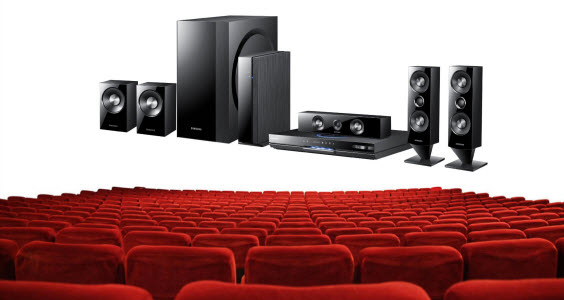 An image of the new Samsung Home Theater System in a movie cinema.