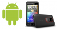 An Image of the Android logo next to an HTC Evo 3D