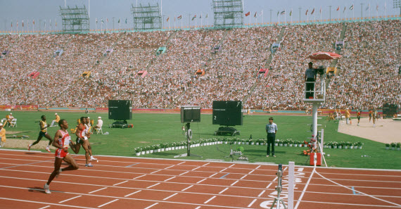 An image of a 100m Sprint at the 1984 Summer Olympics