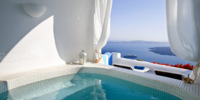 An image from one of the pools at Dream Luxury Suites on Santorini, Greece.