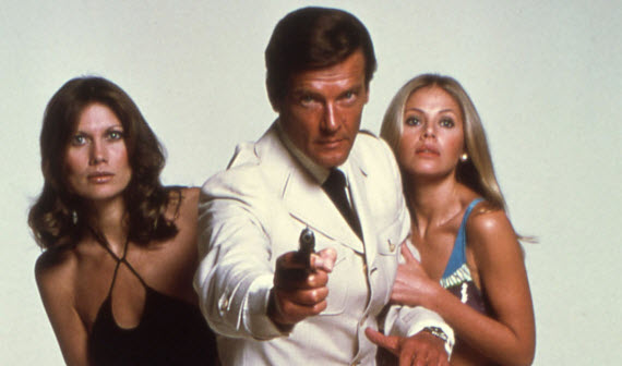 An image of James Bond and two bond girls