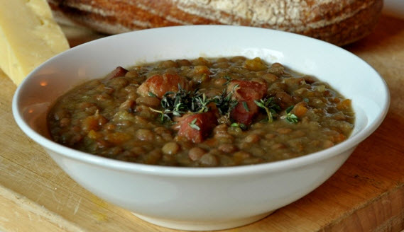 An image of rustic Pea and Bacon Soup from humblecrumble.com 
